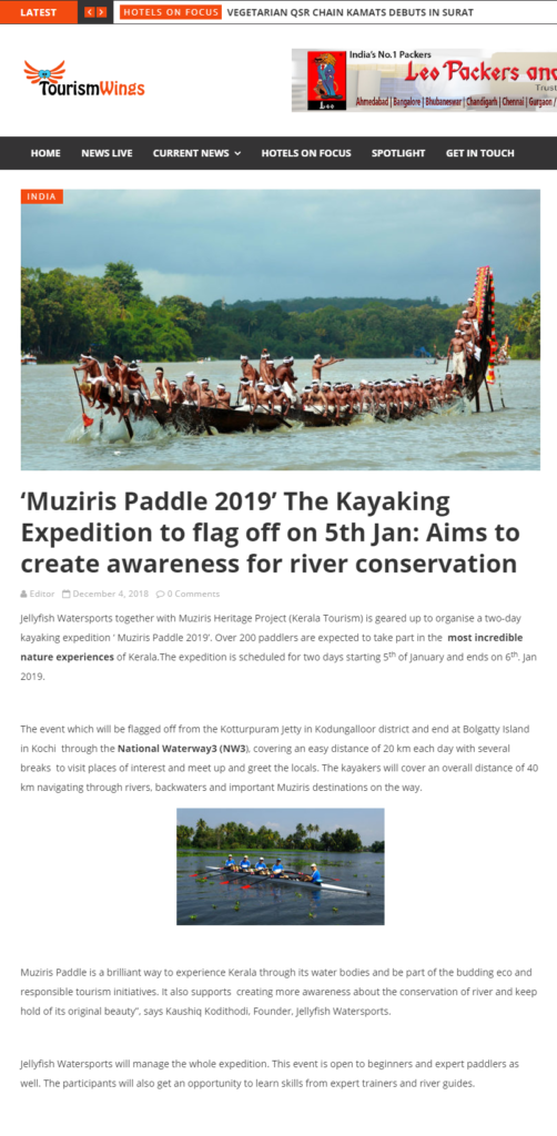 HospitalityBizIndia.com, Muziris Paddle 2019, Jellyfish Watersports Press release