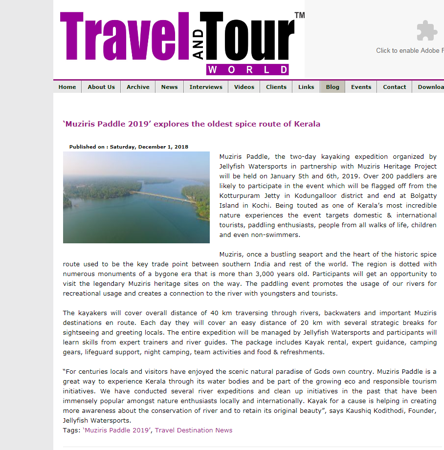 travelandtourworld, Muziris Paddle 2019, Jellyfish Watersports Press release